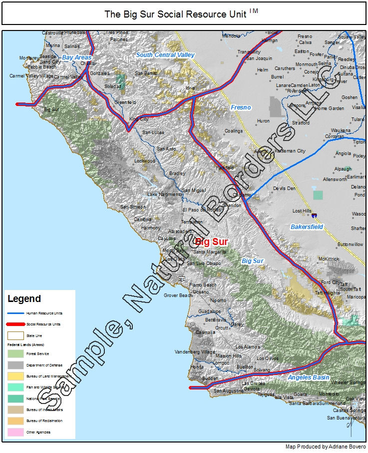 Big Sur map - Social Resource Units of the Western USA