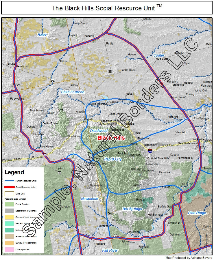 Us Map Black Hills Black Hills map   Social Resource Units of the Western USA