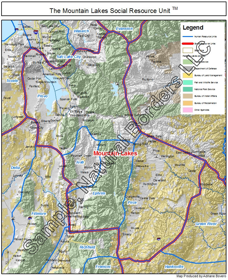 Mountain Lakes Map Social Resource Units Of The Western USA - Us map with nountains