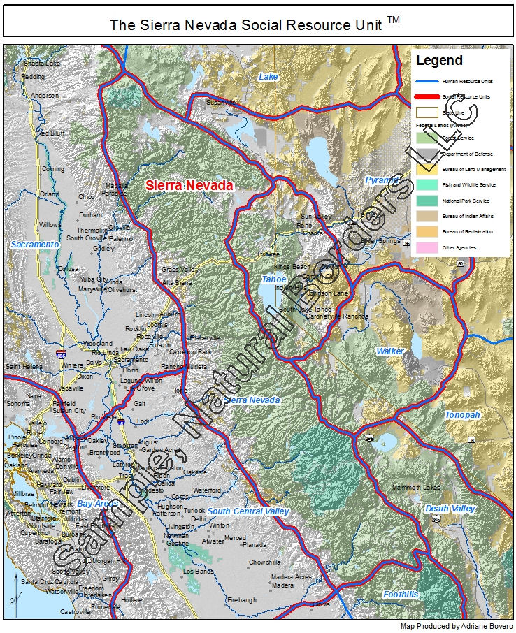 Sierra Nevada map - Social Resource Units of the Western USA